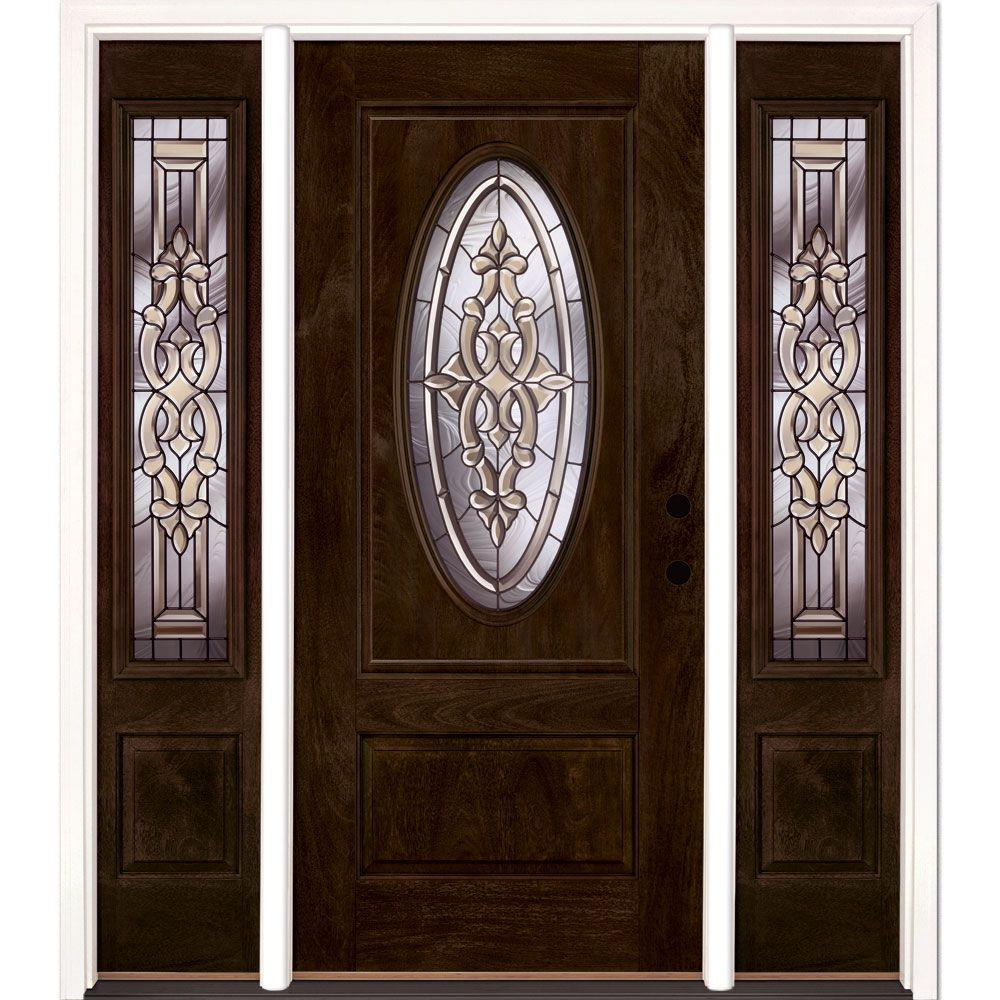 Feather River Doors 59.5 in.x81.625in.Silverdale Patina 3/4 Oval Lt Stained Chestnut Mahogany Lt-Hd Fiberglass Prehung Front Door w Sidelite