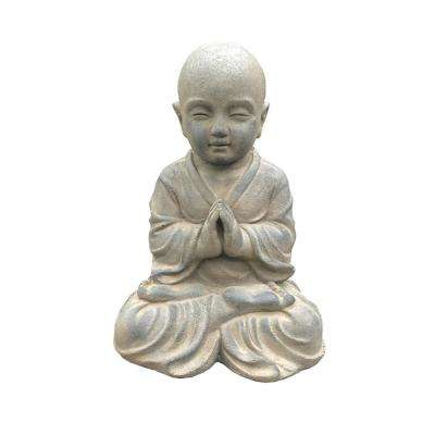 16.5 in. H Lightweight Concrete Sitting Praying Monk Soil Rust