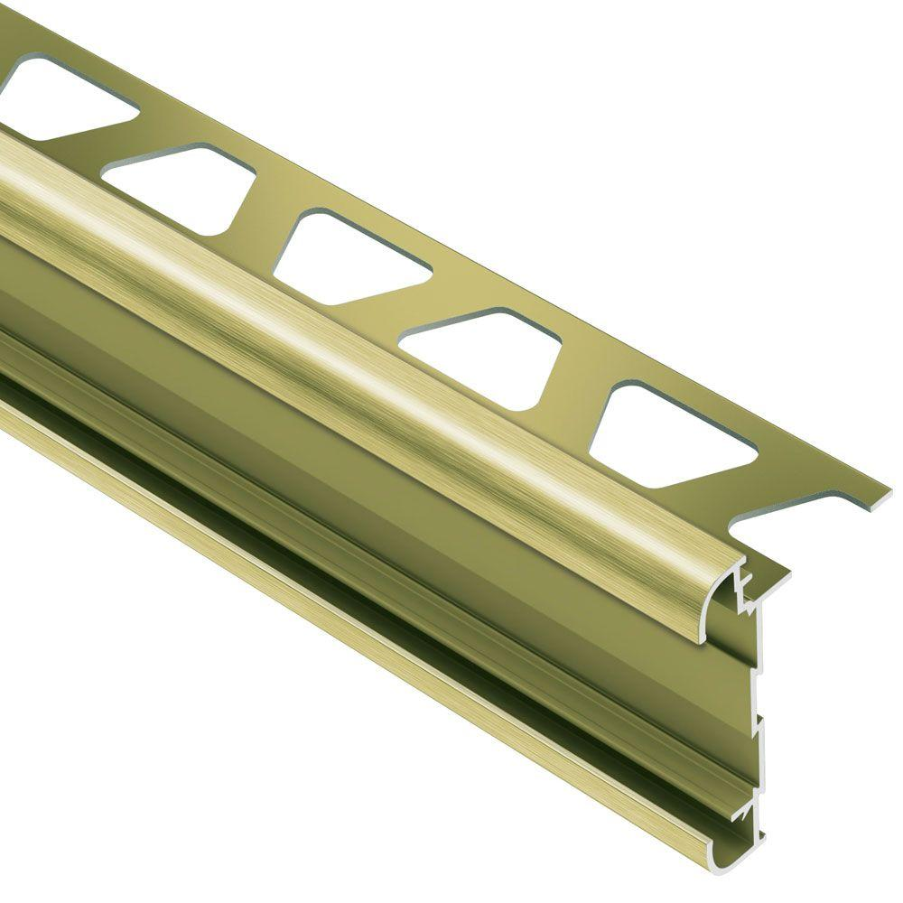 Schluter Rondec-CT Brushed Brass Anodized Aluminum 5/16 in. x 8 ft. 2-1/2 in. Metal Double-Rail Bullnose Tile Edging Trim