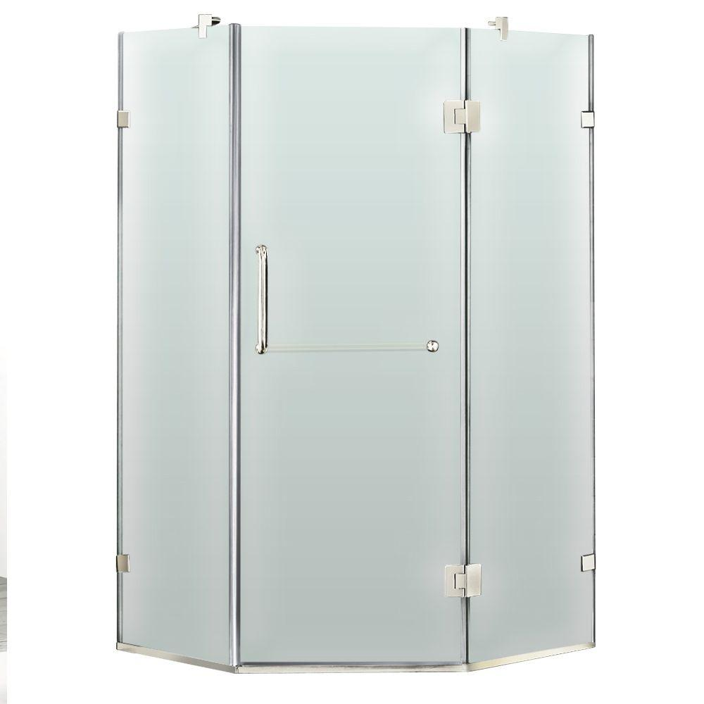 Vigo 38 in. x 73 in. Frameless Neo-Angle Shower Enclosure in Chrome with Frosted Glass