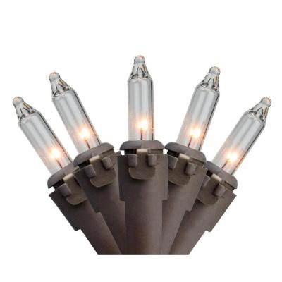 Set of 100 Clear Mini Christmas Lights 2.5 in. Spacing with Brown Wire