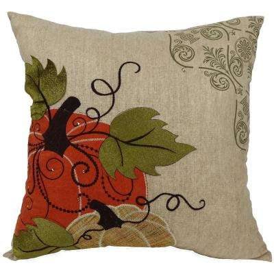 16 in. x 16 in. Pumpkin Embroidered Polyester with Suede Accents Collection Pillow with Polyester Filled Pillow