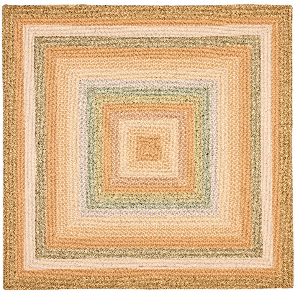 Safavieh Braided Tan/Multi 6 ft. x 6 ft. Square Area Rug
