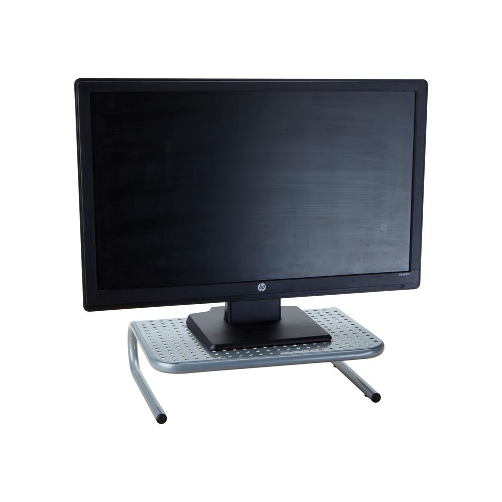 Metal Monitor Stand with Keyboard Storage Space, Silver
