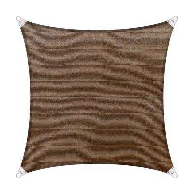 16 ft. x 16 ft. 260 GSM Reinforced (Super Ring) Brown Square Sun Shade Sail