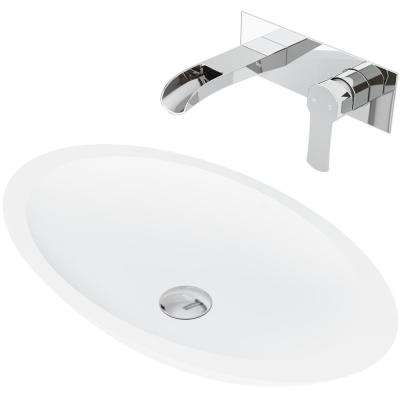 Wisteria Matte Stone Vessel Bathroom Sink Set with Cornelius Wall Mount Faucet in Chrome