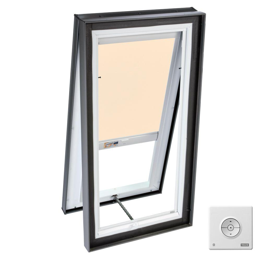 VELUX 22-1/2 x 46-1/2 in. Venting Curb-Mount Skylight with Tempered LowE3 Glass, Beige Solar Powered Light Blind-DISCONTINUED