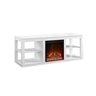 Nelson White 65 in. TV Stand Console with Fireplace