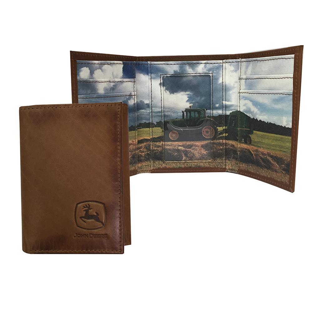 Men/'s John Deere Black or Brown Leather Trifold Wallet