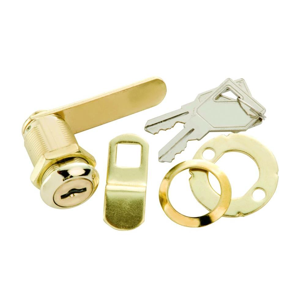 1-1/8 in. Polished Brass Cabinet and Drawer Utility Cam Lock