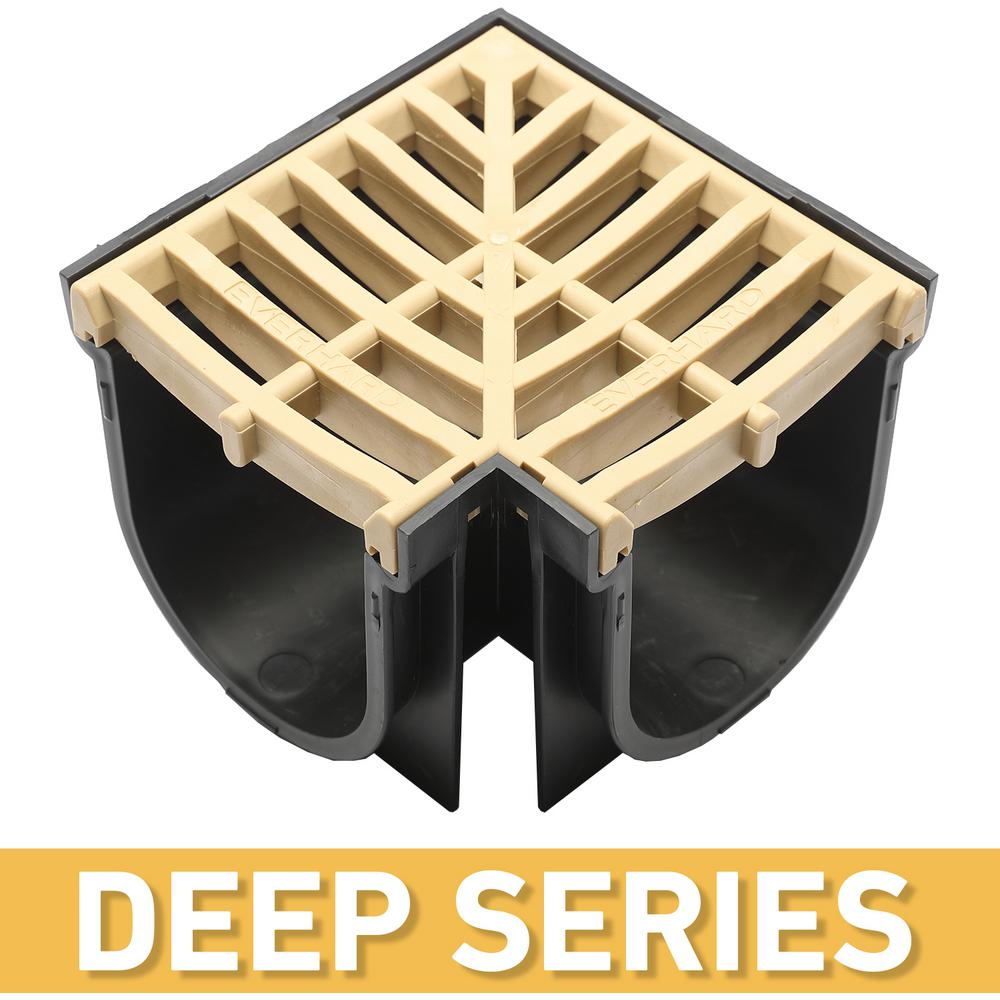U S  TRENCH DRAIN Deep Series 90 Corner for 5 4 in  Trench and Channel  Drain System w/ Sandstone Grate