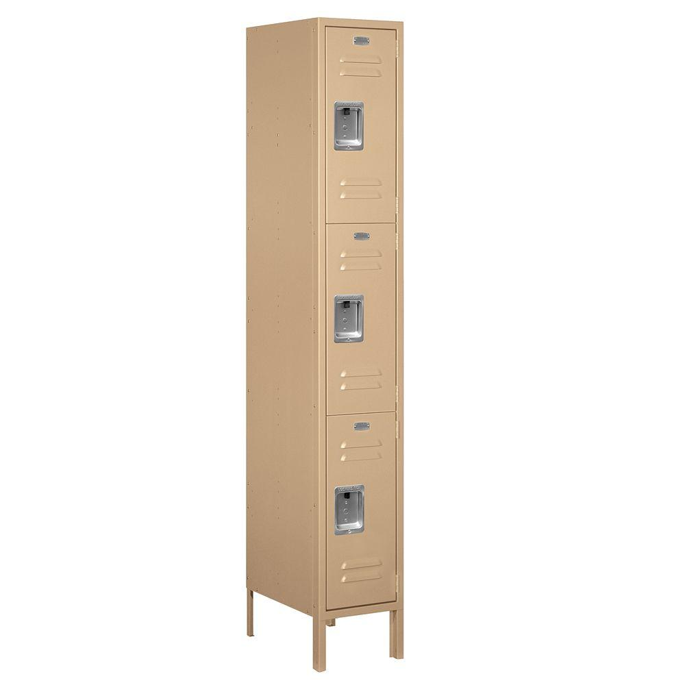 Salsbury Industries 63000 Series 12 in. W x 78 in. H x 18 in. D - Triple Tier Metal Locker Assembled in Tan
