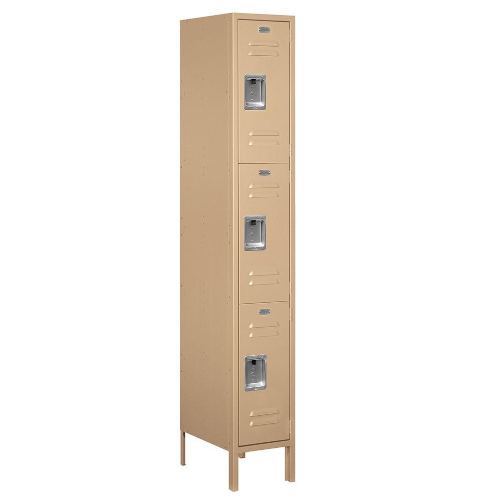63000 Series 12 in. W x 78 in. H x 18 in. D - Triple Tier Metal Locker Assembled in Tan
