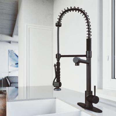 Zurich Single-Handle Pull-Down Sprayer Kitchen Faucet with Deck Plate in Matte Black