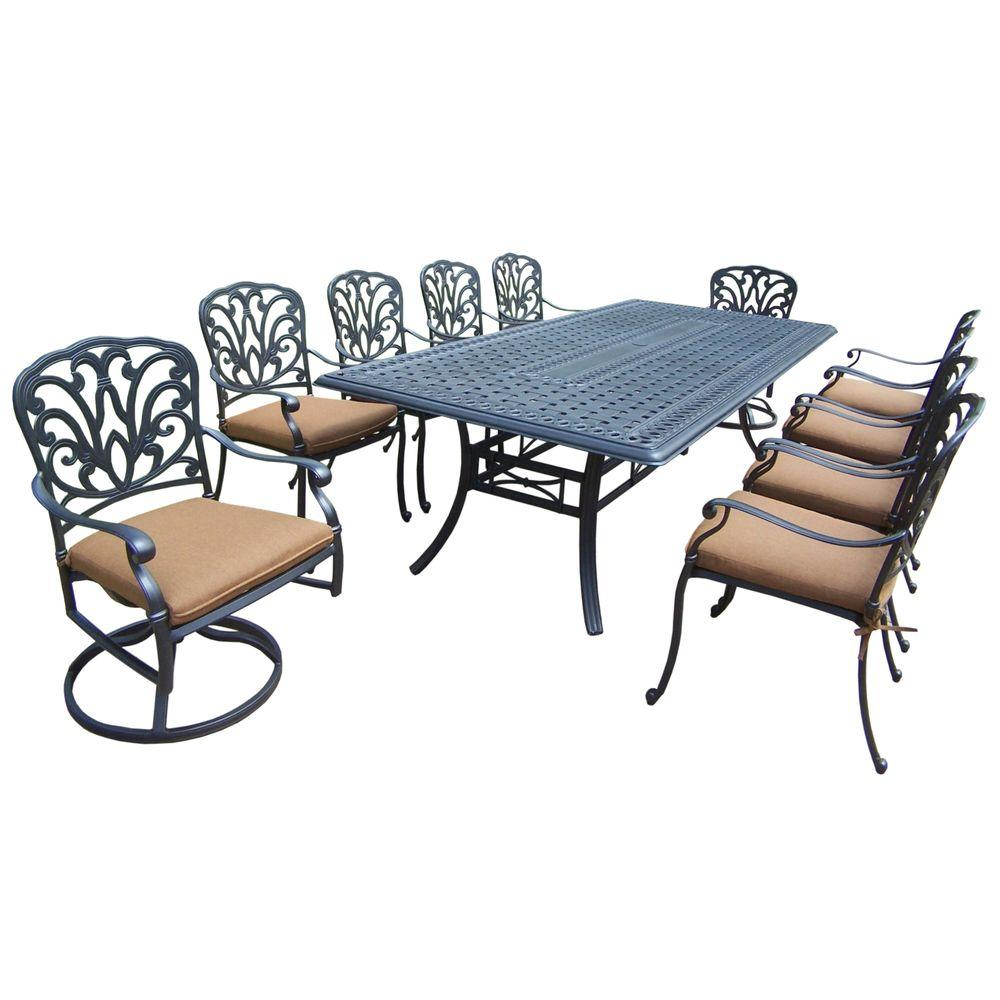 Cast Aluminum 11-Piece Rectangular Patio Dining Set with Sunbrella Cushions