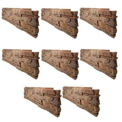 Stacked Stone Desert Sunrise 12 in. x 38 in. Faux Stone Siding Corner Panel Right (8-Pack)