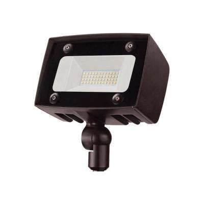 Architectural Dark Bronze Outdoor Integrated LED Flood Light with 2000 Lumens and DLC-Rating