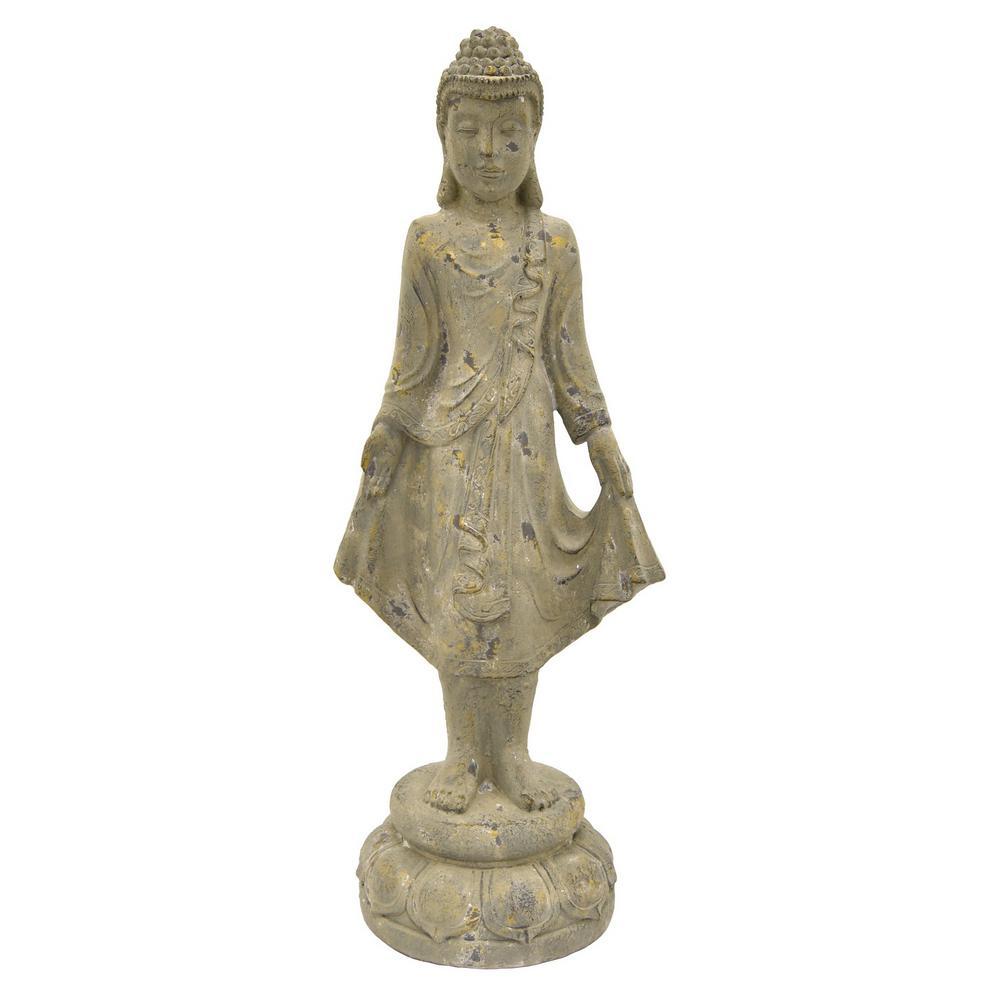 13.25 in. x 10.5 in. Resin Buddha Figurine in Gray