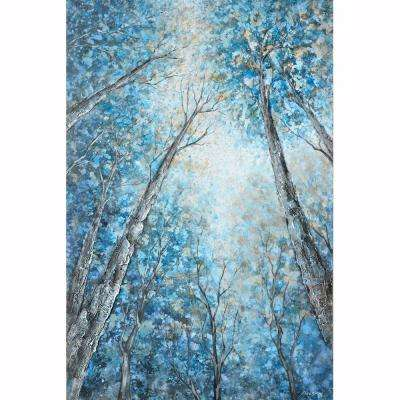 "59 in. x 40 in. ""Into The Trees"" Hand Painted Canvas Wall Art"