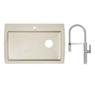 Diamond Dual Mount Granite Composite II 33 in. 1-Hole Single Bowl Kitchen Sink in Biscuit with Faucet in Satin Nickel