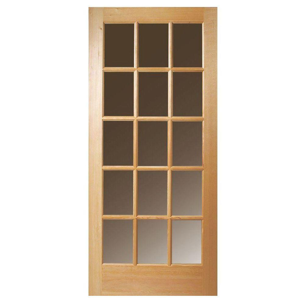 Steves & Sons 36 in. x 80 in. 15 Lite Clear Glass Unfinished Fir ...
