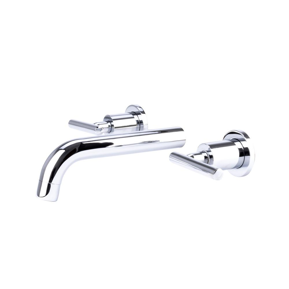 Italia Contemporary 2 Handle Wall Mount Bathroom Faucet In Chrome