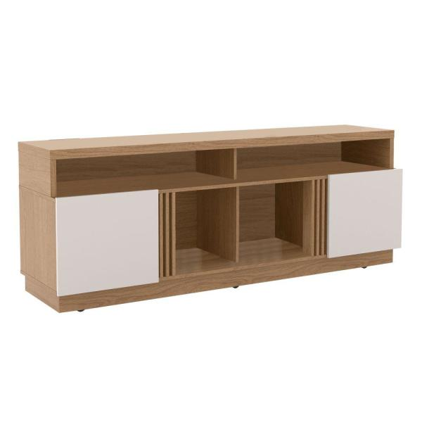 70.87 in. W Wooden White and Brown Entertainment TV Stand with 4-Open-Shelves Fits TV's up to 70 in.