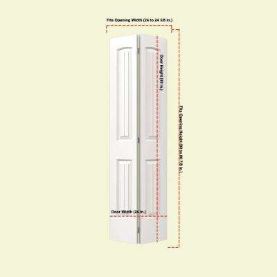 24 in. x 80 in. Santa Fe White Painted Smooth Molded Composite MDF Closet Bi-fold Door