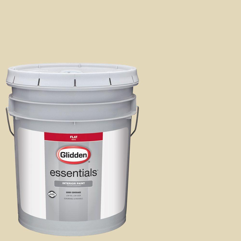 Glidden Essentials 5 Gal Hdgy49d Sunlit Meadow Flat Interior Paint Hdgy49de 05fn The Home Depot