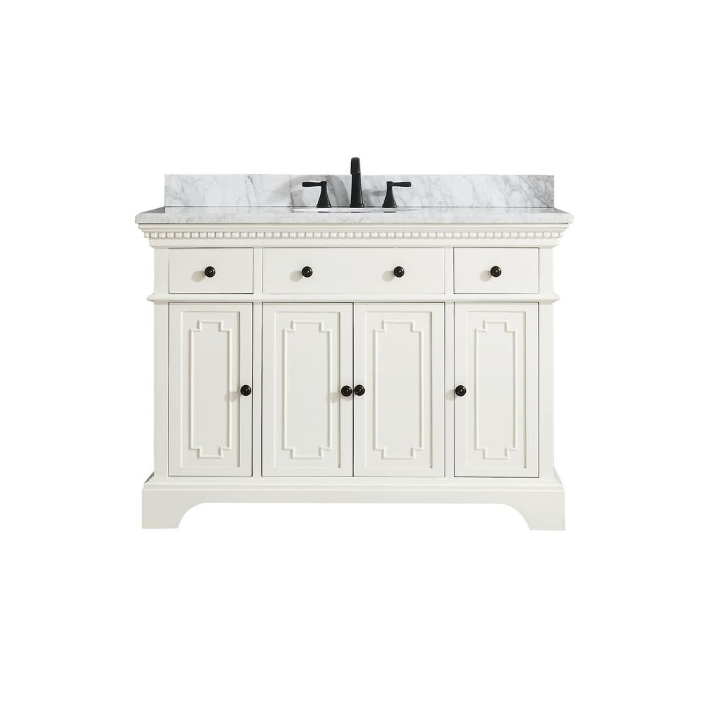 Azzuri Hastings 49 in. W x 22 in. D x 35 in. H Vanity in French White with Marble Vanity Top in Carrera White with Basin