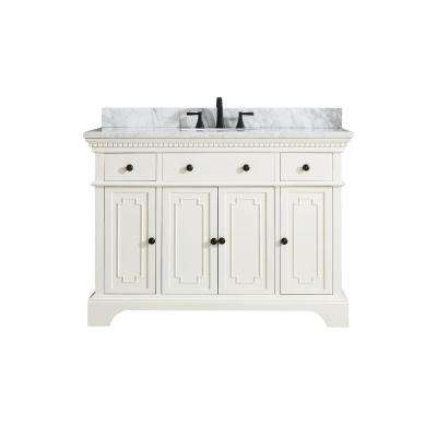 Hastings 49 in. W x 22 in. D x 35 in. H Vanity in French White with Marble Vanity Top in Carrera White with Basin