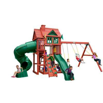 Nantucket Deluxe Wooden Playset with Tube Slide, Rock Climbing Wall and Accessories
