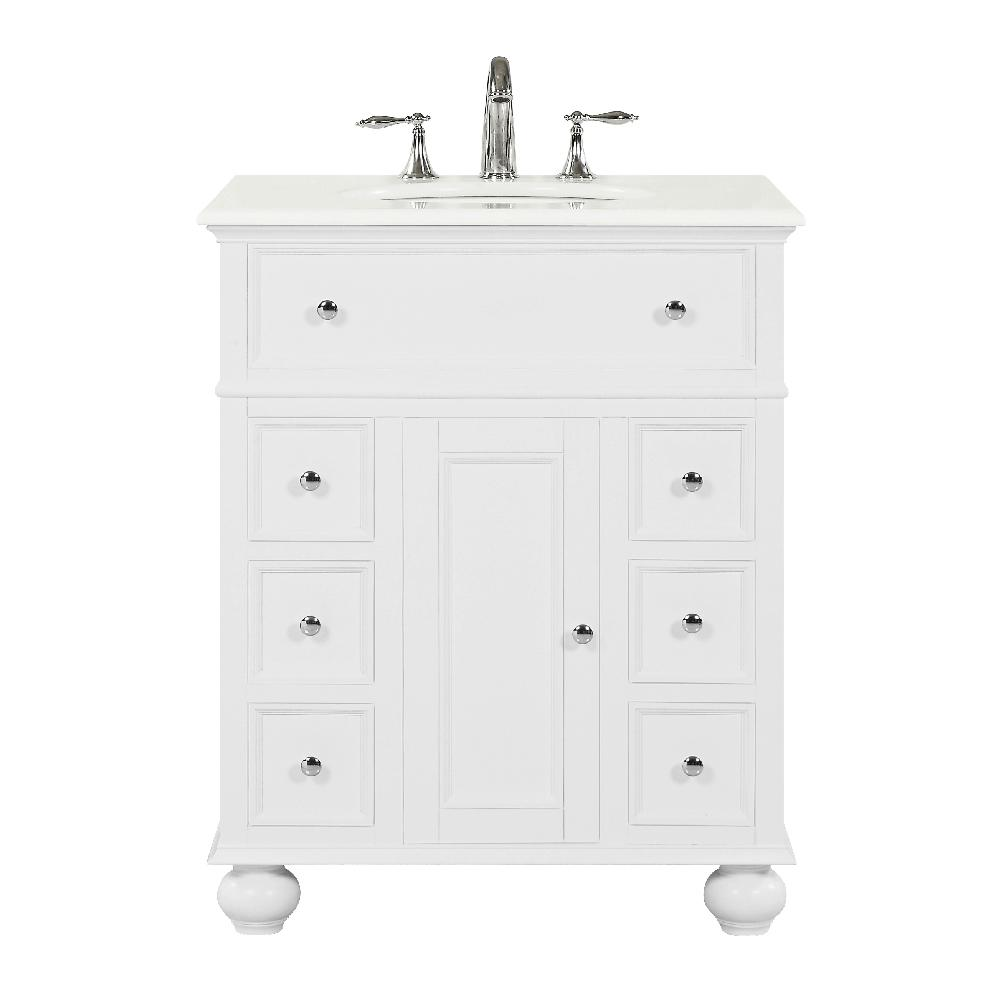 Home Decorators Collection Hampton Harbor 28 in. W x 22 in D in White Bath Vanity with Natural Marble Vanity Top in White with White Sink