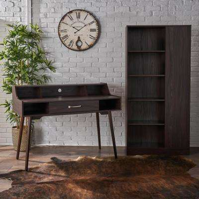 Brenda Mid-Century Modern Walnut Brown Faux Wood Home Office Desk and Shelf Set