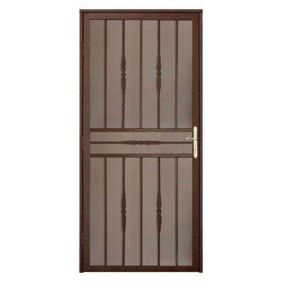 36 in. x 80 in. Cottage Rose Copper Recessed Mount Steel Security Door with Expanded Metal Screen and Brass Hardware
