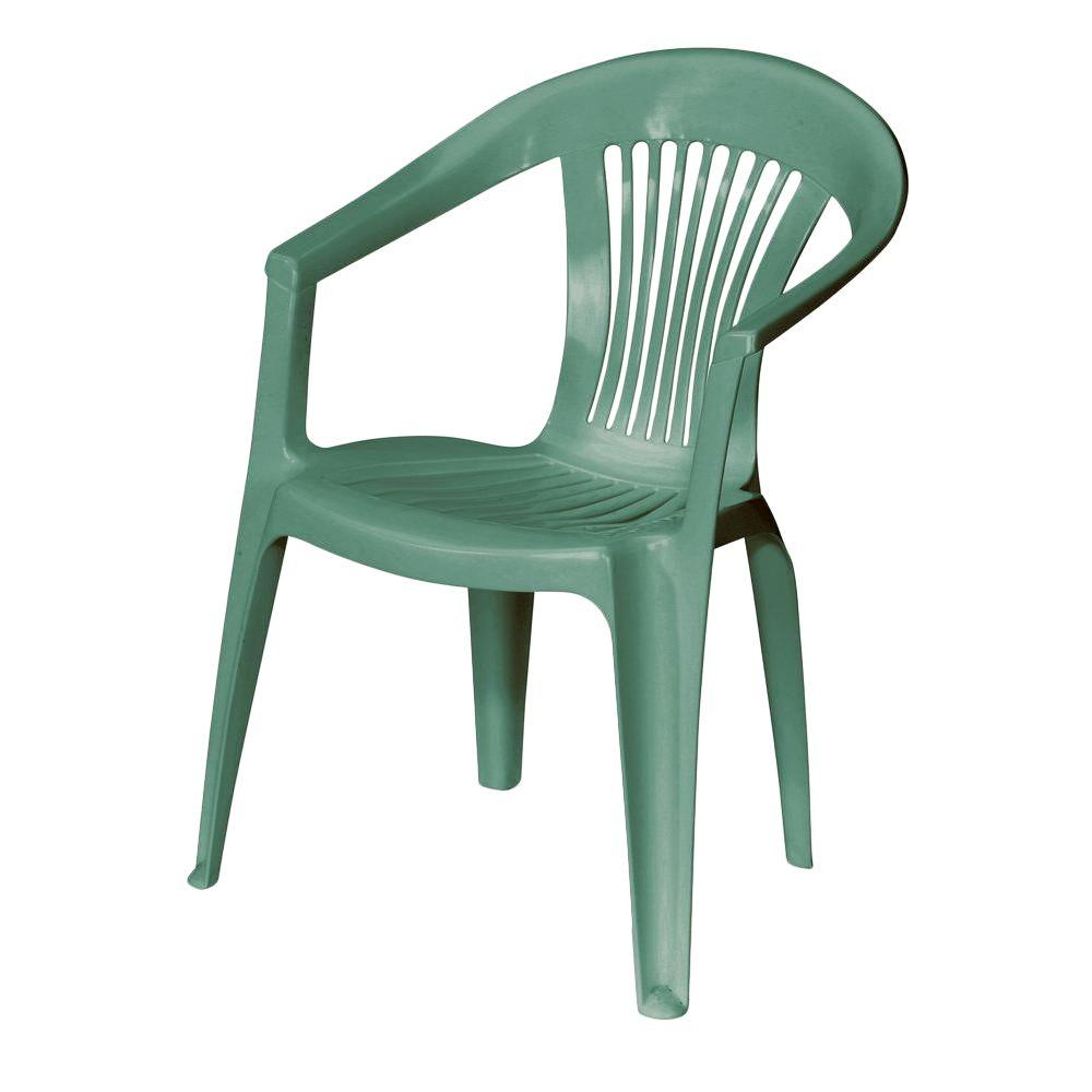 US Leisure Low Back Hunter Green Plastic Outdoor Patio Chair