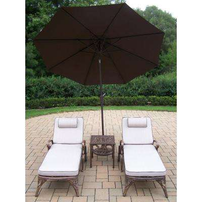 5-Piece Aluminum Patio Chaise Lounge Set with Tan Cushions and Brown Umbrella