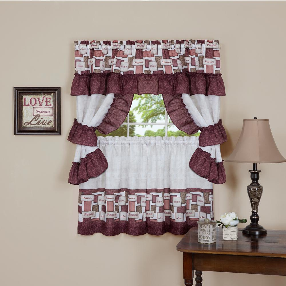 Sheer Inspiration 36 in. L Polyester Window Curtain Set in Spice