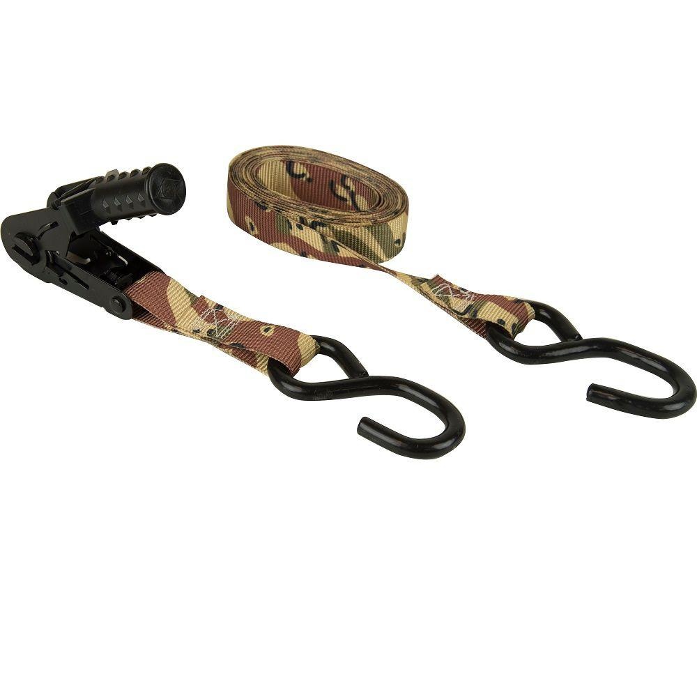 1 in. x 12 ft. Desert Camo Ratchet Tie Down (4-Pack)