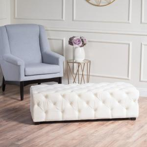 Pleasing Noble House Brianna Ivory New Velvet Tufted Ottoman 9434 Machost Co Dining Chair Design Ideas Machostcouk