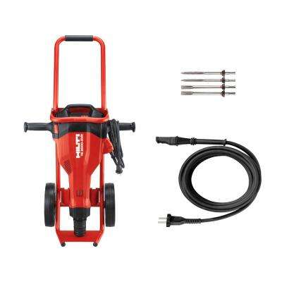 15 Amp 120 Volt 1 in. TE 2000-AVR Polygon Jack Hammer Concrete Breaker Kit with Trolley, Cord and Chisels