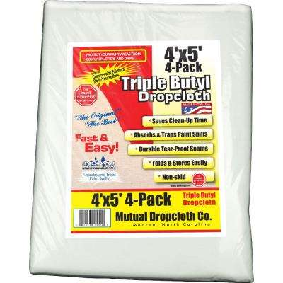 4 ft. x 5 ft. White Triple Coated Butyl Drop Cloth (4-Pack)