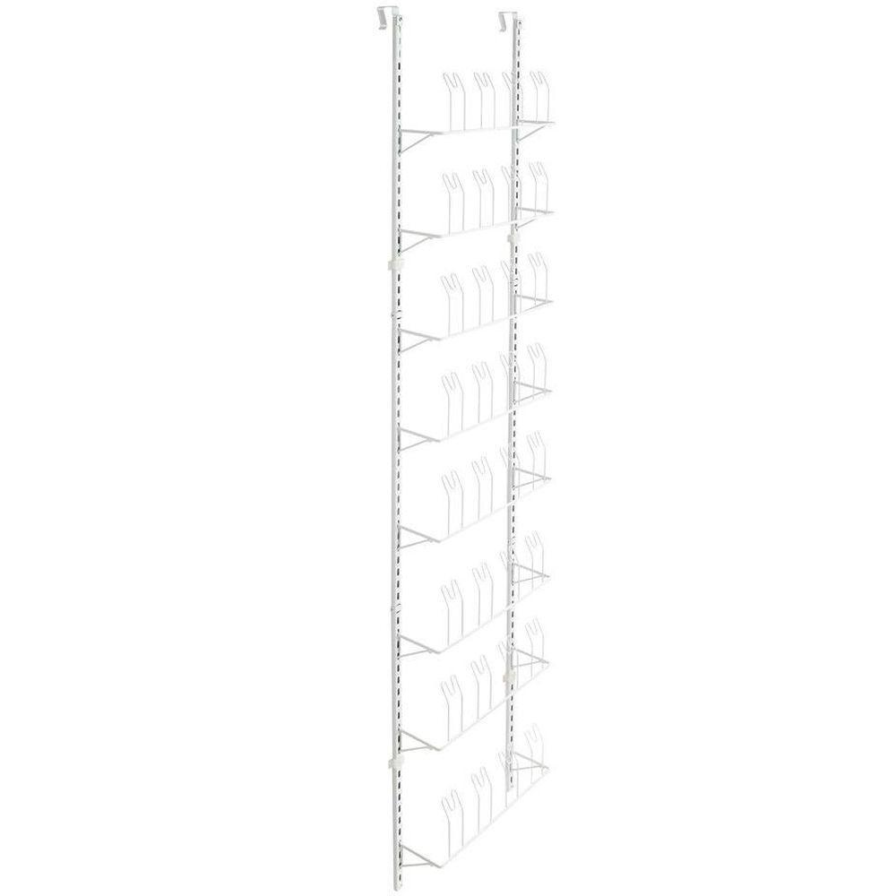 32-Hook Over-the-Door Adjustable Shoe Organizer in White