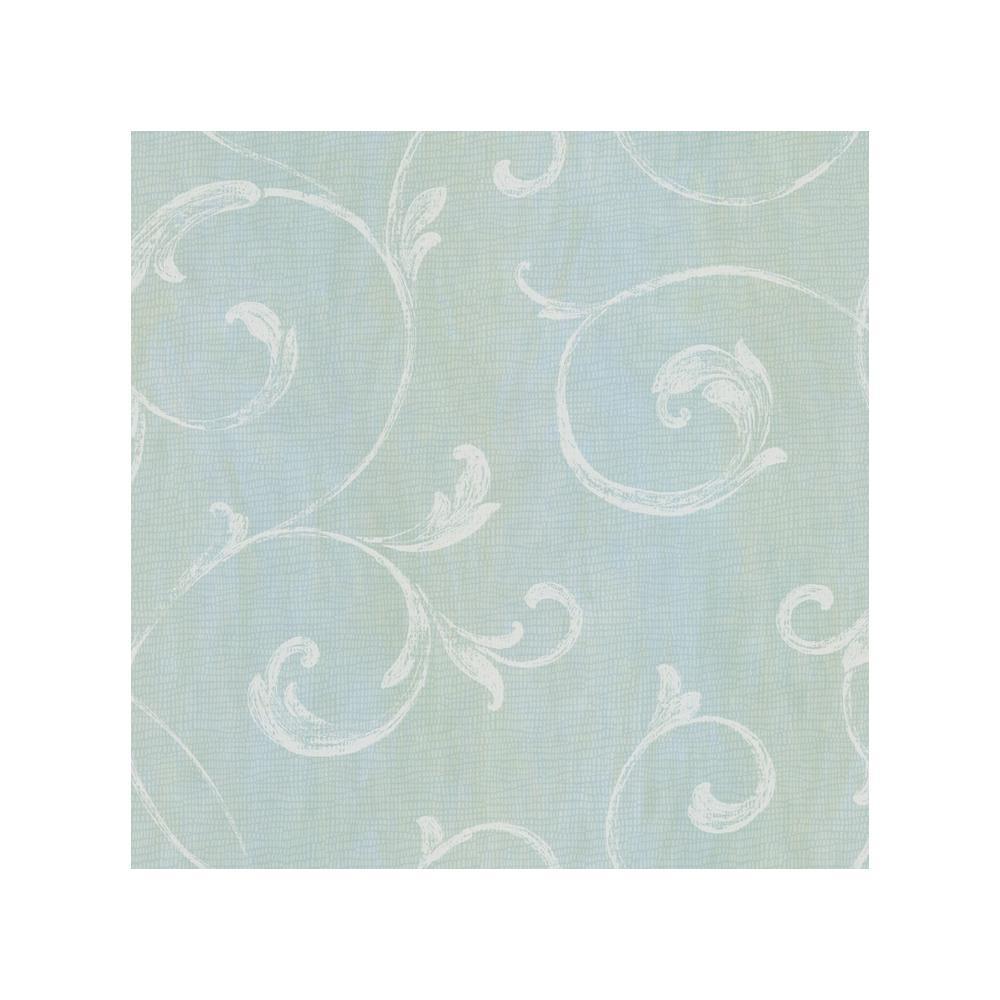 Chesapeake Gibby Aqua Leafy Scroll Wallpaper Sample CHR11665SAM