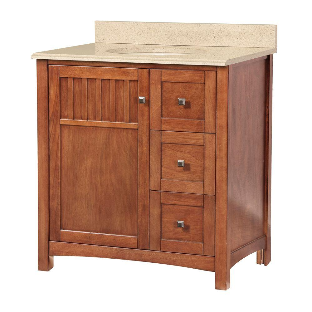 Foremost Knoxville 31 in. W x 22 in. D Vanity in Nutmeg with Colorpoint Vanity Top in Maui