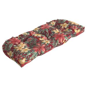 41.5 in. x 18 in. Ruby Clarissa Tropical Countoured Tufted Outdoor Bench Cushion