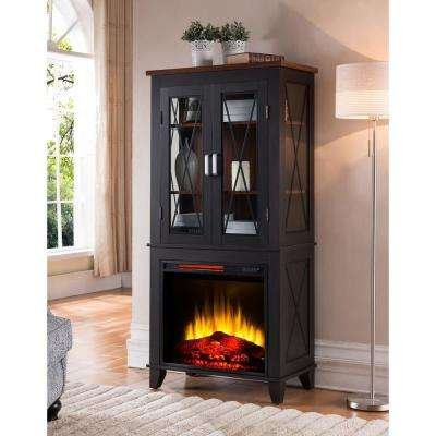 Bold Flame Concord 30 in. Display Cabinet Electric Fireplace in black with Walnut accents