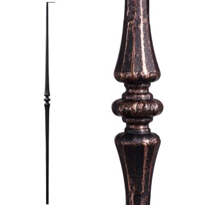 Tuscan Round Hammered 44 in. x 0.5625 in. Oil Rubbed Bronze Single Tapered Knuckle Solid Wrought Iron Baluster