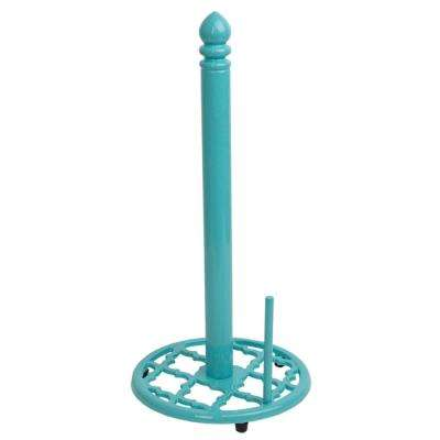 Cast Iron Lattice Paper Turquoise Towel Holder