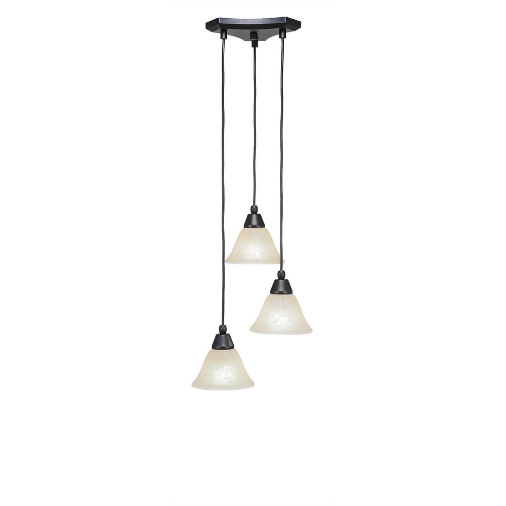 Cambridge 3-Light Matte Black Pendant